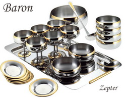 Барон - Комплект креманок на 6 персон стальной с золотым декором