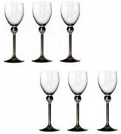 Фужеры для белого вина с металлической ножкой (6 штук)