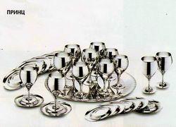 Принц - комплект бокалов для вина на 6 персон посеребренный