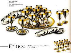 Принц - комплект бокалов для вина на 6 персон с ликерными рюмками стальной с золотым декором
