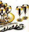 Принц - комплект на 6 персон с ликерными рюмками стальной с золотым декором